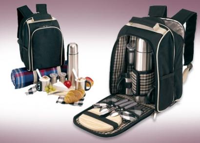 Piknik hátizsák 2 személyre fekete/bézs színben