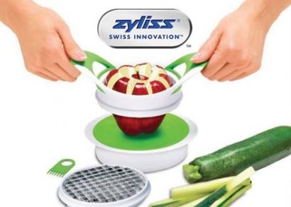 Zyliss alma és zöldség vágó, szilikon fogóval