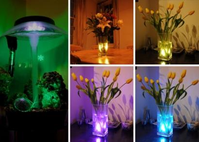 Vízálló, színes LED lámpa, távirányítóval